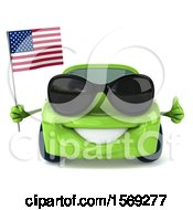 Clipart Of A 3d Green Porsche Car Holding An American Flag On A White Background Royalty Free Illustration