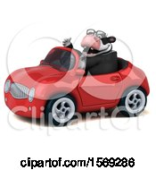 Clipart Of A 3d Business Holstein Cow Driving A Convertible On A White Background Royalty Free Illustration by Julos