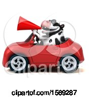 Clipart Of A 3d Holstein Cow Driving A Convertible On A White Background Royalty Free Illustration by Julos