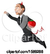 Clipart Of A 3d White Devil Business Man Holding A Tomato On A White Background Royalty Free Illustration