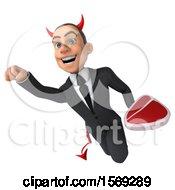 3d White Devil Business Man Holding A Steak On A White Background