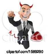 Clipart Of A 3d White Devil Business Man Holding A Steak On A White Background Royalty Free Illustration