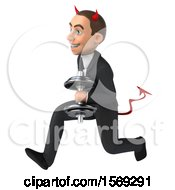 Clipart Of A 3d White Devil Business Man Holding A Dumbbell On A White Background Royalty Free Illustration