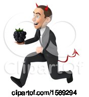 Clipart Of A 3d White Devil Business Man Holding A Blackberry On A White Background Royalty Free Illustration