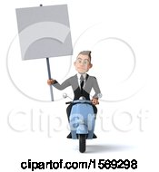 Clipart Of A 3d White Business Man Riding A Scooter On A White Background Royalty Free Illustration