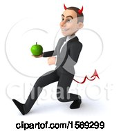 Clipart Of A 3d White Devil Business Man Holding An Apple On A White Background Royalty Free Illustration