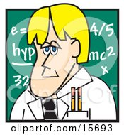Blond Male Teacher Standing In Front Of A Chalkboard In A School Classroom Clipart Illustration by Andy Nortnik