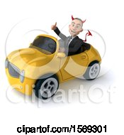 Clipart Of A 3d White Devil Business Man Driving A Convertible On A White Background Royalty Free Illustration