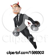 Clipart Of A 3d White Devil Business Man Holding Dumbbells On A White Background Royalty Free Illustration