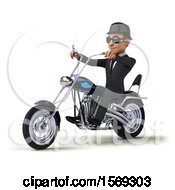Clipart Of A 3d White Business Man Riding A Chopper Motorcycle On A White Background Royalty Free Illustration