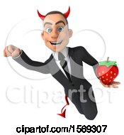 Clipart Of A 3d White Devil Business Man Holding A Strawberry On A White Background Royalty Free Illustration