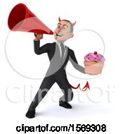 Clipart Of A 3d White Devil Business Man Holding A Cupcake On A White Background Royalty Free Illustration