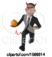 Clipart Of A 3d Young Black Devil Business Man Holding An Orange On A White Background Royalty Free Illustration
