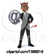 Clipart Of A 3d Young Black Devil Business Man Holding An Email Arobase Symbol On A White Background Royalty Free Illustration
