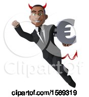 Clipart Of A 3d Young Black Devil Business Man Holding A Euro On A White Background Royalty Free Illustration