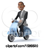 Clipart Of A 3d Black Business Man Riding A Scooter On A White Background Royalty Free Illustration