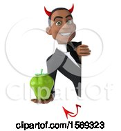 Clipart Of A 3d Young Black Devil Business Man Holding A Bell Pepper On A White Background Royalty Free Illustration