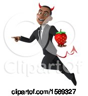 Clipart Of A 3d Young Black Devil Business Man Holding A Strawberry On A White Background Royalty Free Illustration