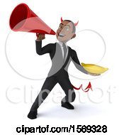 Clipart Of A 3d Young Black Devil Business Man Holding A Banana On A White Background Royalty Free Illustration