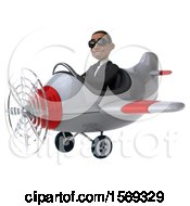 Clipart Of A 3d Black Business Man Flying A Plane On A White Background Royalty Free Illustration