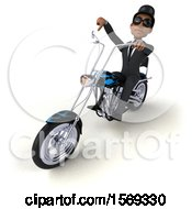 Clipart Of A 3d Black Business Man Biker Riding A Chopper Motorcycle On A White Background Royalty Free Illustration