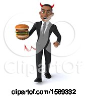 Clipart Of A 3d Young Black Devil Business Man Holding A Burger On A White Background Royalty Free Illustration