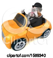 3d Gentleman Or Business Bulldog Driving A Convertible On A White Background