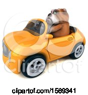 3d Bulldog Driving A Convertible On A White Background