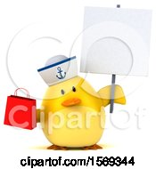 3d Yellow Bird Sailor Holding A Shopping Bag On A White Background