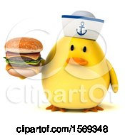 Clipart Of A 3d Yellow Bird Sailor Holding A Burger On A White Background Royalty Free Illustration