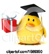 Clipart Of A 3d Yellow Bird Graduate Holding A Gift On A White Background Royalty Free Illustration