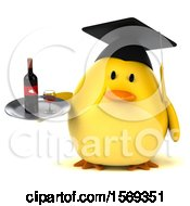 Clipart Of A 3d Yellow Bird Graduate Holding Wine On A White Background Royalty Free Illustration