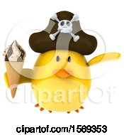 3d Yellow Bird Pirate Holding A Waffle Cone On A White Background