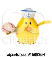 Clipart Of A 3d Yellow Bird Sailor Holding A Brain On A White Background Royalty Free Illustration