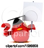 Clipart Of A 3d Chubby Red Bird Graduate Holding A Question Mark On A White Background Royalty Free Illustration