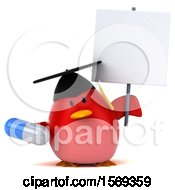 Clipart Of A 3d Chubby Red Bird Graduate Holding A Pill On A White Background Royalty Free Illustration