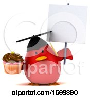 Clipart Of A 3d Chubby Red Bird Graduate Holding A Cupcake On A White Background Royalty Free Illustration