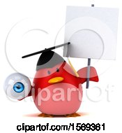 Clipart Of A 3d Chubby Red Bird Graduate Holding An Eyeball On A White Background Royalty Free Illustration