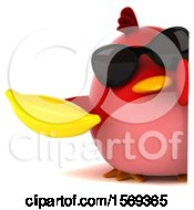 Clipart Of A 3d Red Bird Holding A Banana On A White Background Royalty Free Illustration