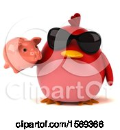 Clipart Of A 3d Red Bird Holding A Piggy Bank On A White Background Royalty Free Illustration