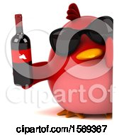 Clipart Of A 3d Red Bird Holding Wine On A White Background Royalty Free Illustration