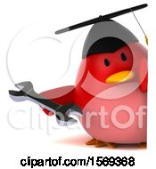 Clipart Of A 3d Chubby Red Bird Graduate Holding A Wrench On A White Background Royalty Free Illustration