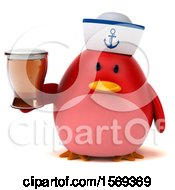 Clipart Of A 3d Chubby Red Bird Sailor Holding A Beer On A White Background Royalty Free Illustration