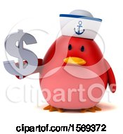 Clipart Of A 3d Chubby Red Bird Sailor Holding A Dollar Sign On A White Background Royalty Free Illustration