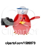 Clipart Of A 3d Chubby Red Bird Sailor Holding A Camera On A White Background Royalty Free Illustration
