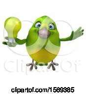 3d Green Bird Holding A Light Bulb On A White Background