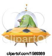 Clipart Of A 3d Green Bird Flying A Ufo On A White Background Royalty Free Illustration