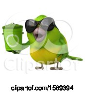 Clipart Of A 3d Green Bird Holding A Recycle Bin On A White Background Royalty Free Illustration by Julos