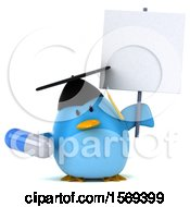 Clipart Of A 3d Chubby Blue Bird Graduate Holding A Pill On A White Background Royalty Free Illustration