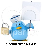 Clipart Of A 3d Blue Bird Sailor Holding A Padlock On A White Background Royalty Free Illustration